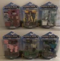 Lot of 6 Minecraft Action Figure Steve, Husk, Zombie, Pig, Stray, Blaze