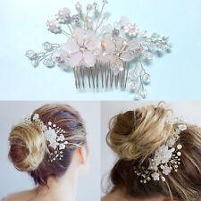 Bridal Flower Hair Comb White Pearl Beaded Hair Wear Piece Wedding Accessory