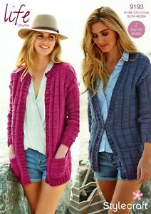 "9193 Stylecraft Life Chunky Knitting Pattern Cardigans Easy Knit Designs 48-50"""