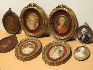 Vtg Lot Small Framed Wall Art Prints Victorian Man Ladies George Washington