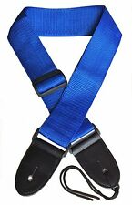 Acoustic Electric Guitar Strap for Kids/Adults. Blue Nylon. Free Picks.