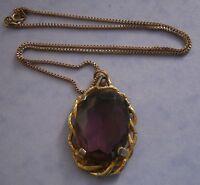 NR138) VINTAGE GOLD TONE CELTIC LARGE AMETHYST FACETED OPEN BACK GLASS PENDANT