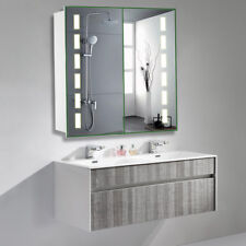 Wide Wall Mount Bluetooth Led Bathroom Mirror Cabinet Storage with Shaver Socket