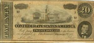 Confederate States $20 Dollars CR-507 Currency Banknote 1864