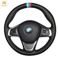 DIY Black Genuine Leather Steering Wheel Cover for BMW 220i 218i 225xe #01103