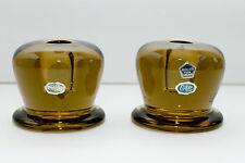 Mid Century Candle Holders Scandinavian Glass Eda Sweden Heavy Minimalist