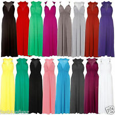 Maxi Dress Spring Womens Ladies Coil Long Stretch Sleeveless Jersey Flared Dress