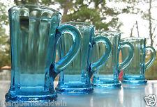 Tiara Indiana Glass 4 Blue Captain's 7 oz Handled Tumblers Mugs    HARD TO FIND!