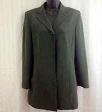 KASPER ASL 100% SILK Long Olive Green Jacket Blazer Single Button Coat Size 6