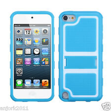 Apple iPod Touch 5 GUMMY CASE w STAND HYBRID COVER ACCESSORY BABY BLUE WHITE