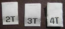 240 PCS WHITE WOVEN CLOTHING LABELS, SIZE TAGS TODDLER - 2T 3T 4T