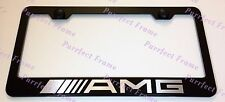 "Mercedes ""AMG"" LASER Style Black Stainless Steel License Plate Frame W/ Bolt Cap"