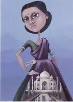 RARE Indian Beauty Fantasy girl in dress by Balashko Russian modern postcard