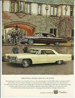 1965 Yellow Cadillac 1962 Maroon Sedan de Ville Color Photo Vintage Print Ad