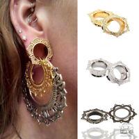 1 Pair Silver / Gold Lotus Flower Flesh Tunnel Ear Plug Gauge Flared Expander