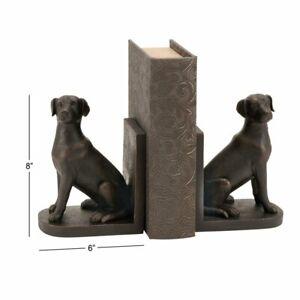 Labrador Dog Bookends Set - Farmhouse, Matte Brown, Solid Polystone Construction