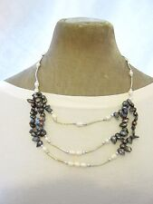 "24"" Black Grey white Real fresh water pearl silver tone multi strand Necklace"