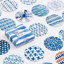 45 PCS Blue  Impression Round Paper Labels Gift Food Kraft Craft Stickers~