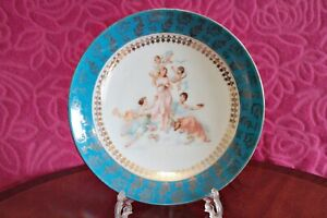 Antique German Wall Mounted Porcelain Decorative Plate