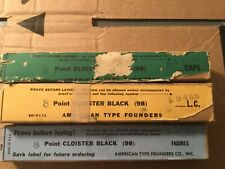 LETTERPRESS METAL TYPE CLOISTER BLACK 8PT CAPS/LOWERS/FIGURES NEW IN BOX ATF
