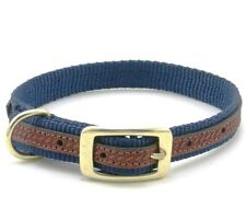 "WEAVER Traditions West Nylon Dog Collar, Leather Overlay, 13"" x 3/4"", Navy Blue"