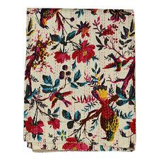 Indian Bedspread Quilt Blanket Throw Bedding Kantha Bed Cover Vintage Bird Print