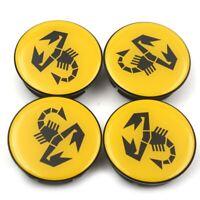 4x 50mm Abarth jaune noir jantes couvercle moyeux capuchon roue enjoliveur caché