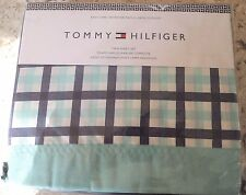 TOMMY HILFIGER TEAL BLUE STRIPE GINGHAM PLAID XL TWIN 3 PIECE SHEET SET NEW