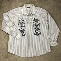 Stetson Mens 3XL Western Pearl Snap Embroidered Long Sleeve Gray Stripe Shirt