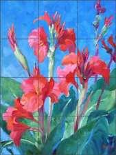 Floral Tile Backsplash Mikki Senkarik Canna Lily Art Ceramic Mural MSA109