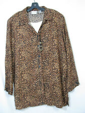 NAPA VALLEY Leopard Print TWO-FER SHIRT TOP Built In Cami W/NECKLACE Blouse 1X