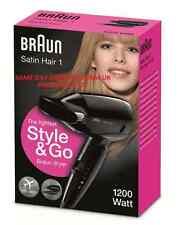 Braun DUAL VOLTAGE Satin Hair 1 HD 130 STYLE & GO TRAVEL PHON NERO 1200w