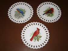 Set of 3 Kemple Milk Glass Decorative Plates Hand Painted Birds