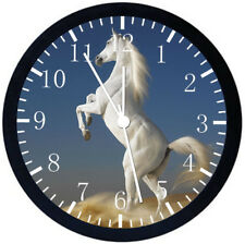 Beautiful White Horse Black Frame Wall Clock Nice For Decor or Gifts W417
