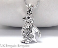 CUTE White Gold Plated Crystal Sea Life Baby Penguin Pingoo Snow Charm Necklace