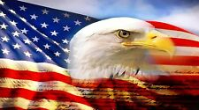 "Patriotic Bald Eagle American Flag- 42"" x24"" LARGE WALL POSTER PRINT NEW."