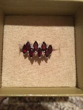 Red Garnet Marquise Ring With White Topaz Size 5