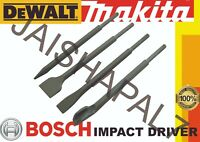 4 Piece SDS Chisel Set. Point, Flat and U Groove SDS Chisels fits IMPACT DRIVERS