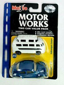 MAISTO VW VOLKSWAGEN CAMPER BUS & BEETLE 1300 MOTOR WORKS 2-CAR PACK COLLECTIBLE
