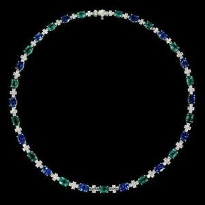 30Ct Emerald ,Sapphire & Diamond Tennis Necklace 14k White Gold Over