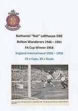 NAT LOFTHOUSE BOLTON WANDERERS 1946-61 RARE ORIGINAL HAND SIGNED ANNUAL CUTTING