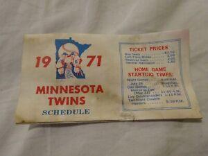 Vintage 1971 Minnesota Twins Pocket Schedule Foldout