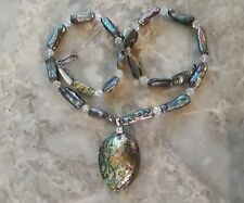 Marked 925 Iridescent Abalone shell pendant beaded necklace bling/ice silver-t