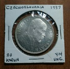 New listing 1937 Czechoslovakia 20 Korun Unc. *Brilliant Blast White Silver Stunner*
