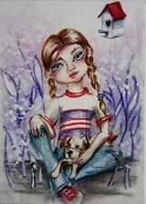 ACEO Original Painting Illustration Girl Dog Fantasy Portrait Big eyes by VJN
