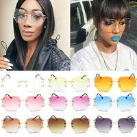 2017 Women Oversized Round Sunglasses Rimless Metal Frame Optics Lens Eyewear