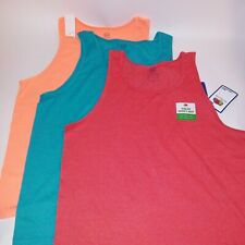 Set of 3 Fruit of the Loom Mens Tank Top Large Orange Blue Red Sleeveless Solid