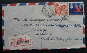 SCARCE 1964 Trinidad & Tonago Registd Cover ties 2 stamps canc San Fernando