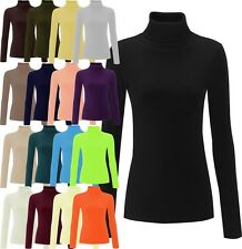 NEW WOMENS PLAIN RIBBED COTTON POLO ROLL NECK LONG SLEEVED CASUAL JUMPER TOP