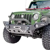 Full Width Front Bumper with Winch Plate&D-rings Fit for 07-18 Jeep Wrangler JK